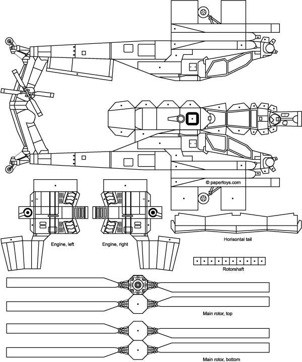 Apache Helicopter Model Cut Out - Free Printable 3D Paper