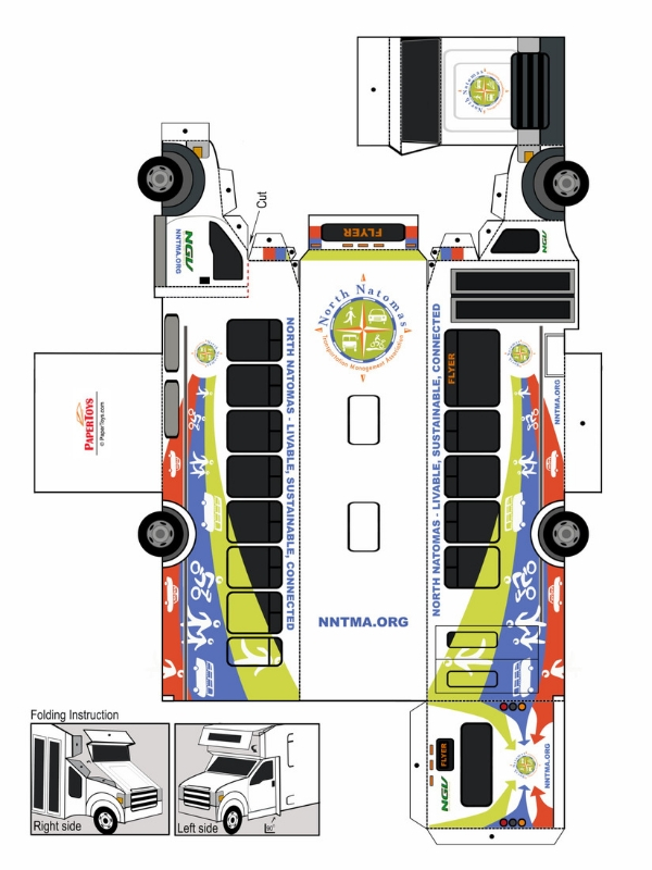 NNTMA Shuttle Bus Cut Out - Free Printable 3D Paper Model
