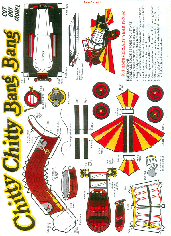Chitty Bang Bang Model Car - Free Printable Paper Template