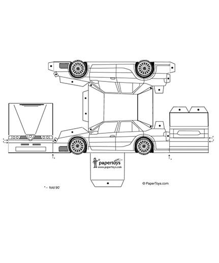 Alfra Romeo Model Car - Free Printable 3D Paper Cut Out Template