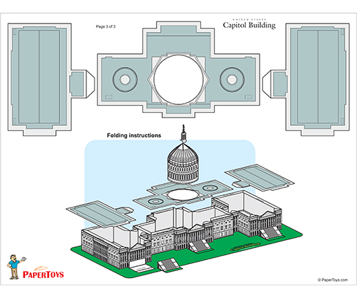 US Capitol Building Model Cut Out - Free Printable 3D Paper Template