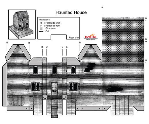 Haunted House Cut Out Free Printable 3d Paper Model Template