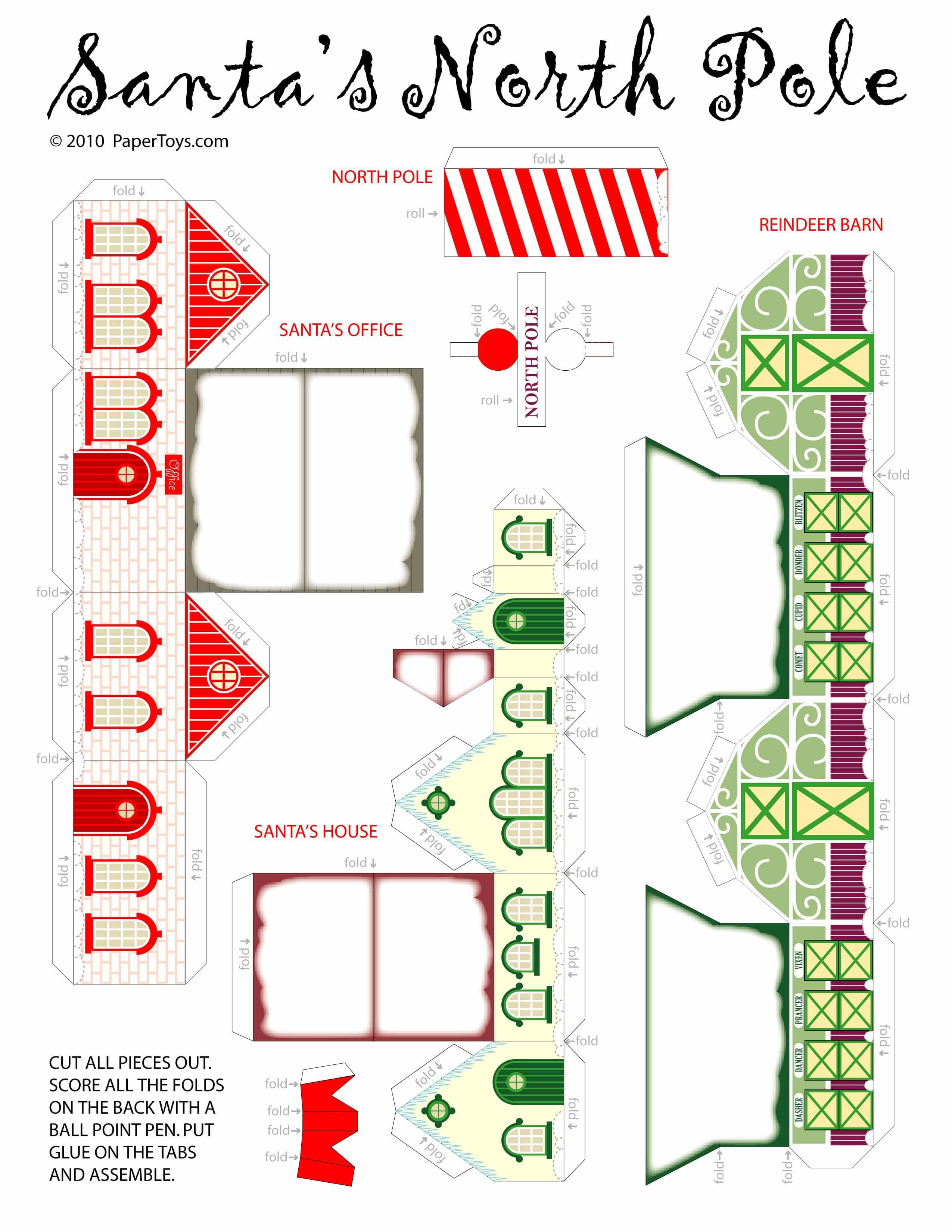 Santas house paper cutouts by papertoys jeuxipadfo Image collections