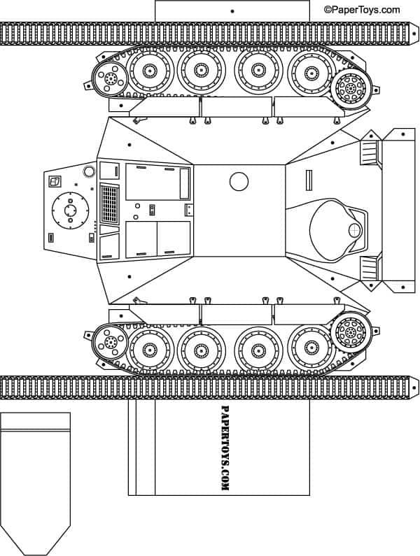 Как сделать с бумаги танк по схеме
