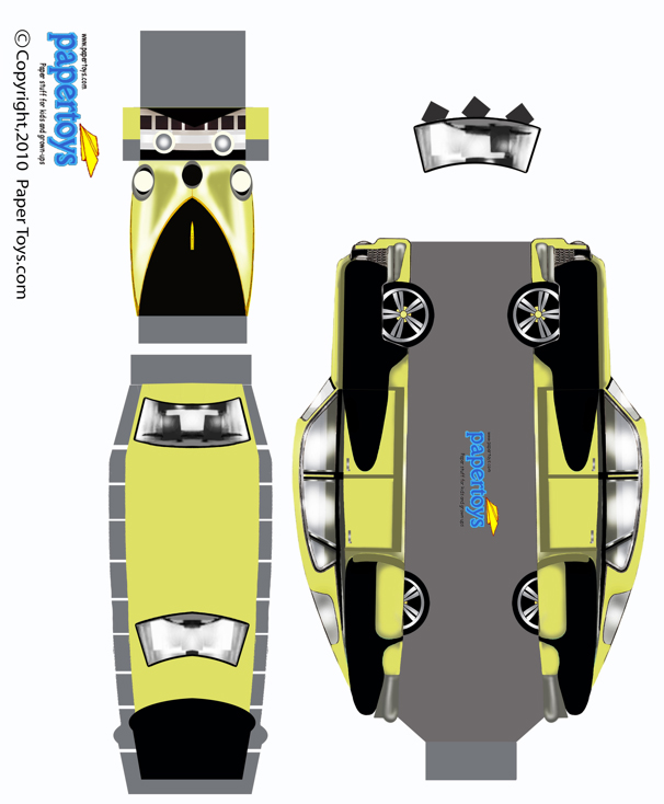 Tucker Model Car Cut Out - Free Printable 3D Paper Template
