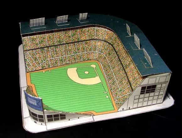 Maqueta 3D del estadio de béisbol Wrigley Field en Chicago. EEUU.