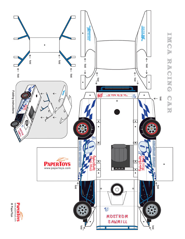 graphic regarding Race Car Template Printable called Race Motor vehicle Reduce Out - Cost-free Printable 3D Paper Design Template